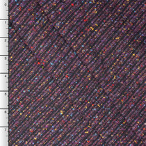 Tahari Plum Speckled Diagonal Stripe Wool Coating Fabric