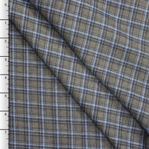 Charcoal, Black, and Light Blue Plaid Wool Suiting
