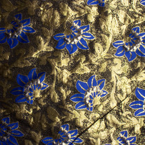 Blue and Metallic Gold Floral Brocade