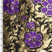 Purple and Metallic Gold Floral Brocade