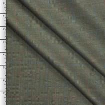 Italian Olive Herringbone Wool Suiting with Subtle Windowpane Check