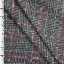 Pink, Blue, and Charcoal Houndstooth Plaid Brushed Poly Suiting