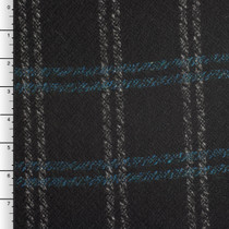 Teal and Grey Plaid Black Wool Blend Coating