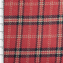 Red, Black, and Ivory Plaid Heavyweight Loose Weave Poly Twill