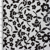 Solid Black Floral on White Stretch Twill