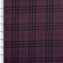 Black, Plum, and Red Plaid Moleskin Suede Fabric