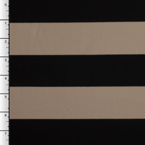 Heavyweight Tan and Black Striped 4-Way Stretch Poly/Rayon/Lycra Knit