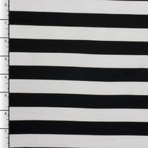 "Black and White 3/4"" Striped Techno Knit"