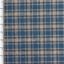 Blue and Grey Midweight Plaid Cotton Flannel