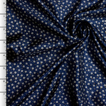 Navy Blue Floral Japanese Poly Lining