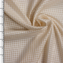 Tan and White Gingham Check Japanese Poly Lining