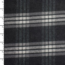 Italian Black and Charcoal Plaid Midweight Wool Coating