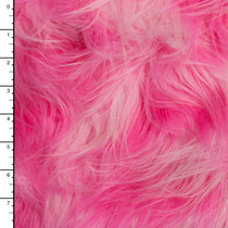 "Light Pink and Hot Pink Blotch 4.5"" Pile Luxury Faux Fur"