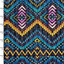 Vibrant Blue, Gold, and Purple Art Deco Tribal Sweater Knit