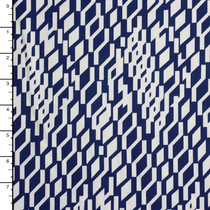 Blue and White 'Layers' Print Stretch Cotton Twill