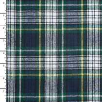 Blue, Green, White, and Yellow Tartan Plaid Wool Blend