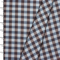 Brown and Blue Gingham Plaid Flannel Shirting