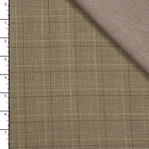 Tan and Brown Houndstooth Plaid and Chambray Double Cloth by Robert Kaufman