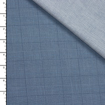 Blue Houndstooth Plaid and Chambray Double Cloth by Robert Kaufman