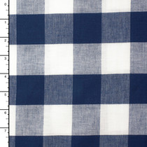 Blue and White Large Gingham Plaid Linen