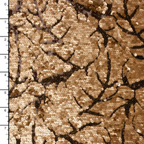 Gold/Black Designer Leaf Pattern Sequin Fabric