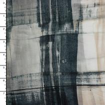 Designer Grey and Tan Brushstroke Grunge Cotton Lawn