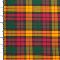 Red, Green, and Goldenrod Tartan Plaid Stretch Cotton Gabardine