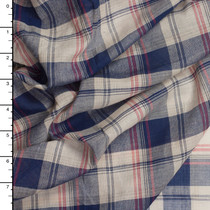 Navy, Red, and Tan Plaid Cotton Voile