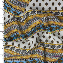 Yellow, Ivory, and Brown Patterned Elephant Stripe Rayon Challis