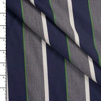 Navym Charcoal, Lime, and Silver Stripe Designer Wool Suiting
