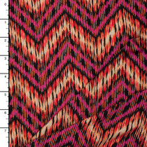 Fuschia, Orange, and Yellow Tribal Style Chevron ITY Knit