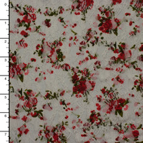 Red and Green on White Floral Print Stretch Lace
