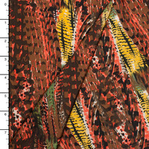 Coral, Brown, and Yellow Grunge Print Nylon/Lycra