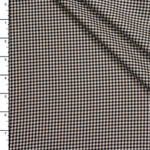 Ivory and Black Gingham Check Midweight Brushed Cotton Poplin