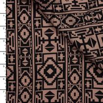 Black Tribal Pattern on Tan Rayon Challis