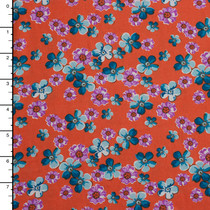Turquoise and Lavander Floral on Orange Rayon Challis