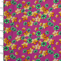 Orange and Green Floral on Hot Pink Rayon Challis