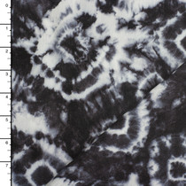 Black and White Tie Dye Midweight Rayon Gauze