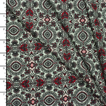 Black, Red, and Ivory Intricate Rayon Challis Print