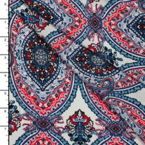 Coral, Blue, and White Paisley Medallion Challis Print