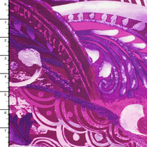 Purple and Fuschia Waves and Swirls Pattern Nylon/Lycra