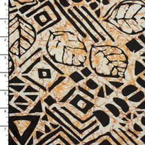 Black Island Print on Tan/Ivory Marbled Nylon/Lycra