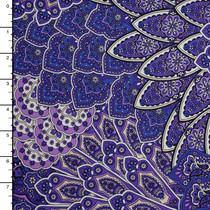 Purple Patterned Layered Scallop Print Nylon Lycra