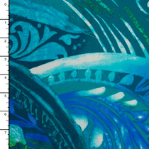 Blue and Green Waves and Swirls Pattern Nylon/Lycra