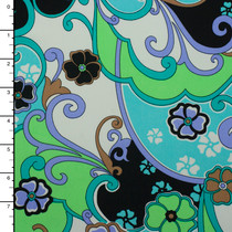 Aqua, Mint, Black, White, and Tan Flowers and Scrollwork Nylon Lycra Pritn