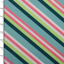 Aqua, Teal, Mint, and Pink Diagonal Stripe Midweight Nylon/Lycra Print