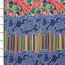 Lace, Stripes, and Floral Colorful Striped Heavyweight Nylon/Lycra