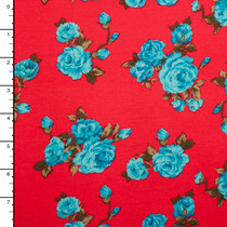 Aqua and Tan Floral on Neon Red Ponte De Roma Knit
