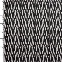 Black and Offwhite Brushstroke Chevron Lightweight Rayon Jersey Knit