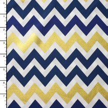 Blue and Gold 'Remix Metallic' Chevron Cotton Print by Robert Kaufman